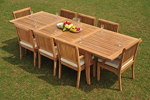 TeakStation 8 Seater Grade-A Teak Wood 9 Pc Dining Set: 122