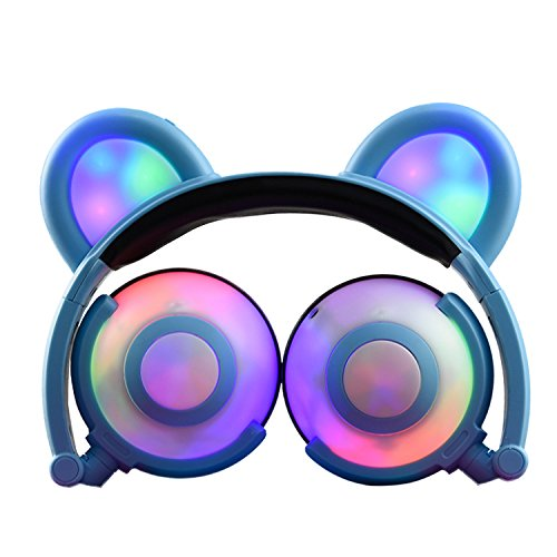 Kids headphones,Bear Ear Headphones,SNOW WI Cosplay Fancy Headphones Foldable Over-Ear Gaming Headsets Earphone with LED Flash light for iPhone 7/6S/iPad,Android Mobile Phone,Macbook (00Blue)