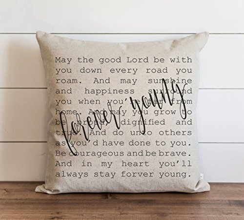 CAROLJU Forever Young 18 x 18 inch Pillow Cover Everyday Lyrics Throw Accent Cushion Cover -