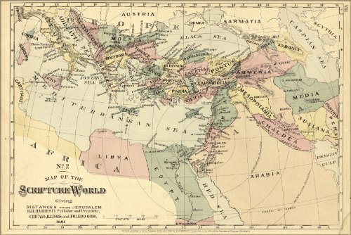 Poster Bible Map Israel Jerusalem Middle East 1881 Antique Reprint