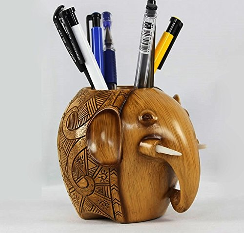 Z-Color ® Wood Carving Elephant Pencil Holder Fashion Creative Wooden Pen Holder For Office/School by Z-Color (Image #2)