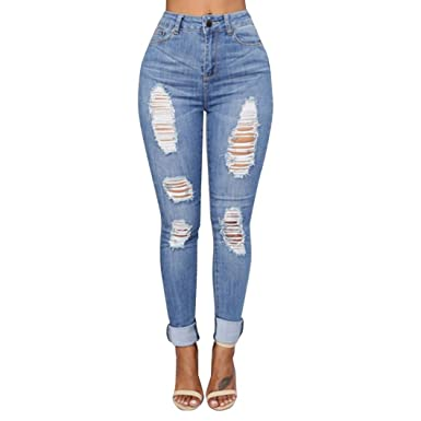 3651dd952d9ad Hattfart Womens Stretch Denim Distressed Mid-Rise Push up Skinny Ankle Ripped  Jeans (S
