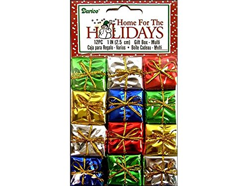 Package of 48 Decorative Miniature Foil Paper Wrapped Holiday Packages