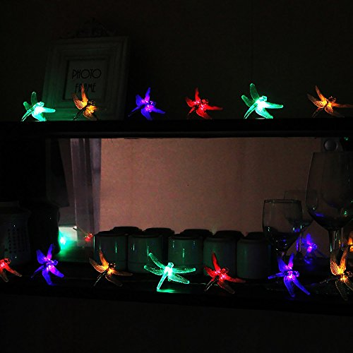 Isightguard Dragonfly Solar String Lights,16.4ft 30 LED Outdoor Fairy Lights Waterproof ...