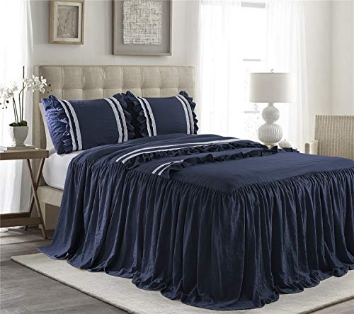HIG 3 Piece Ruffle Skirt Bedspread Set King-Navy Color 30 inches Drop Ruffled Style Bed Skirt Coverlets Bedspreads Dust Ruffles- Emma Bedding Collections King Size-1 Bedspread, 2 Standard Shams (Skirt With Bedspread)