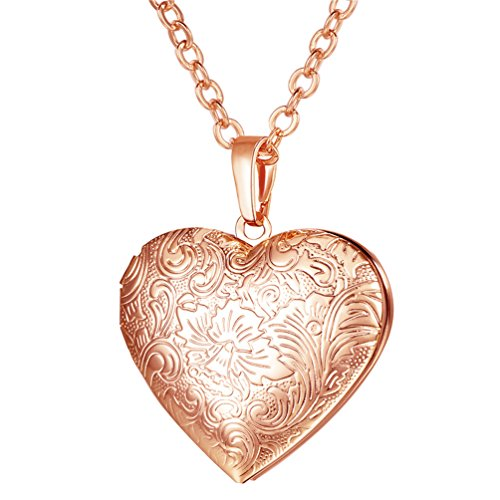 Photo Engraved Heart (U7 Locket Necklace with Rolo Chain 22