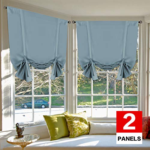 H.VERSAILTEX Thermal Insulated Blackout Tie Up Curtains Adjustable Window Shade for Living Room, Rod Pocket 2-Pack, 42 x 63 Inch Long - Solid in Stone Blue (Adjustable Window Shades)