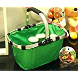 Carry it in Fashion with Multi-Purpose Foldable Basket, Foldable Collapsible Basket – For Shopping, Camping, Picnic, Beach