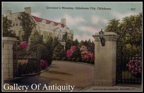 Oklahoma City Governor's Mansion Linen 1940-50's Postcard