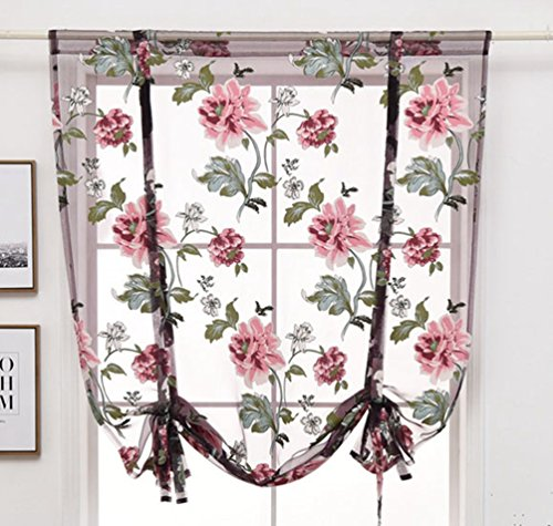 ZebraSmile Floral Semi Sheer Kitchen Voile Curtain Rod Pocket Window Curtain Roman Curtain Lifable Balloon Curtain, 31.5 x 47 Inch, Purple (Semi Sheer Tie Up Shade)