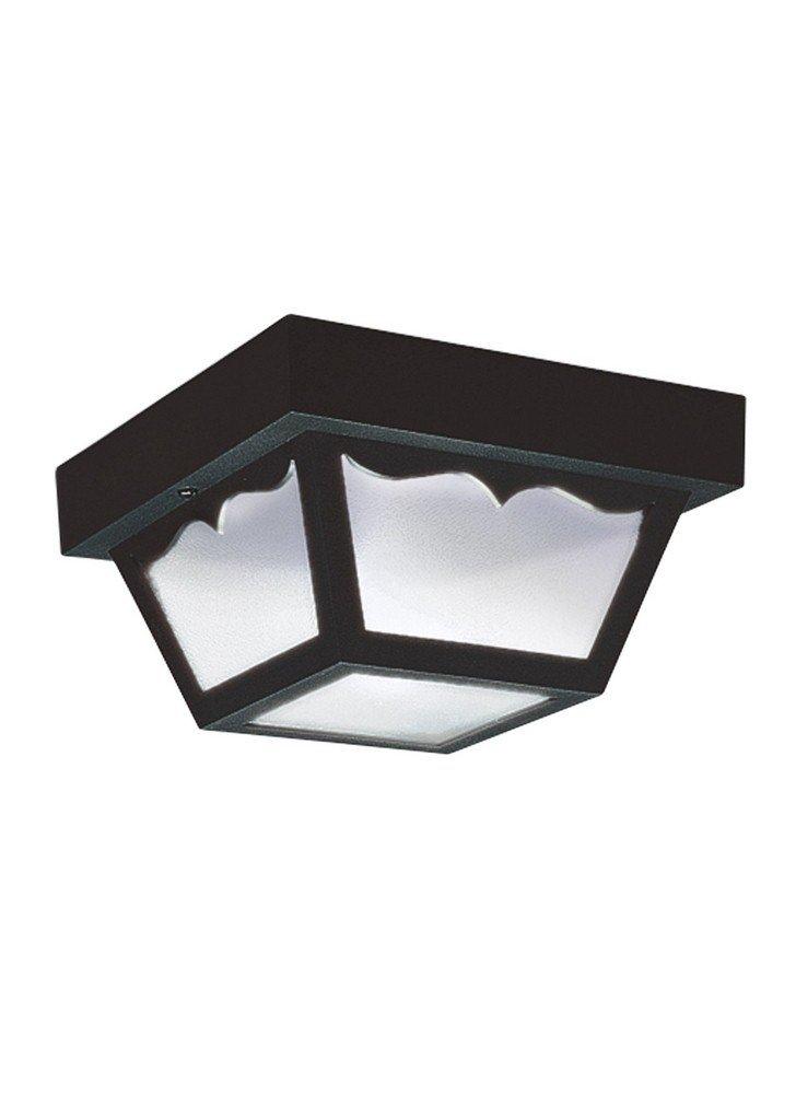 Sea Gull Lighting 7567EN3-32 Ceiling Outdoor Flush Mount, 1-Light LED 9.5 Watts, Black Polypropylene