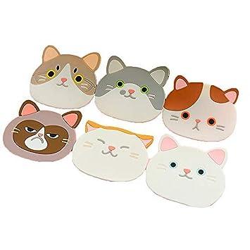 6 soportes de silicona para cazuelas de gato, resistente al calor, antideslizante, alfombrilla