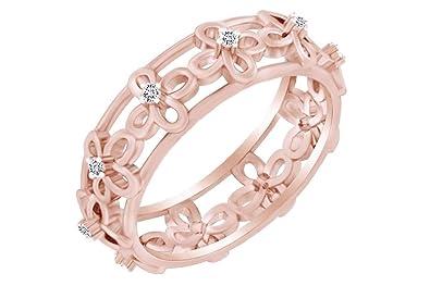 0.10 Cttw Round natural Diamond Anniversary Band Ring 10k Gold