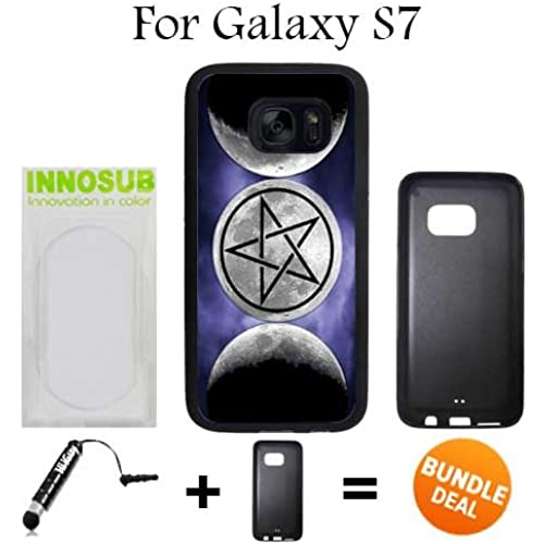 Moon Goddess Symbol Wicca Custom Galaxy S7 Cases-Black-Rubber,Bundle 2in1 Comes with Custom Case/Universal Stylus Sales