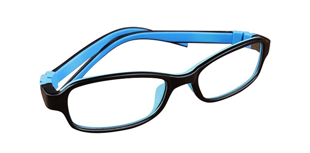 2a10209b1eb6 Amazon.com: Deding Kids Optical Eyeglasses No Screw Bendable with Stringa  and Case ,Children Tr90&silicone Safe Flexible Glasses Frame (Black Blue):  ...