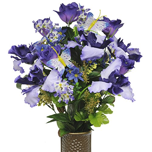 Purple Iris Mix with Butterflies Artificial Bouquet, featuring the Stay-In-The-Vase Design(c) Flower Holder (Butterfly Flower Vase)