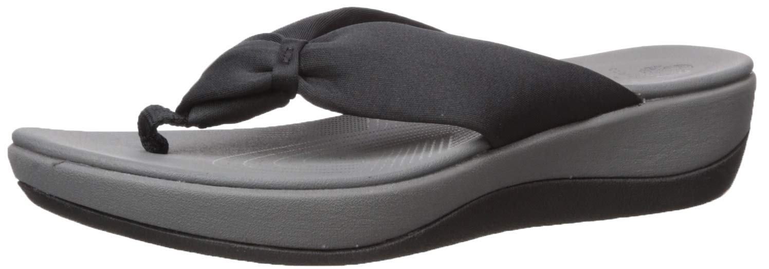 CLARKS Women's Arla Glison Flip-Flop, Black Fabric, 8 Medium US by CLARKS