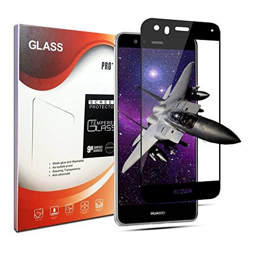Panzerglas Schutzfolie für Huawei P10 Lite, Anti-Öl, 9H Härte, Anti-Kratzen, Panzerglasfolie Gehärtetem Glas Displayschutzfolie für Huawei P10 Lite (Black)