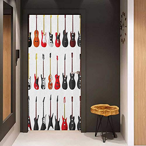 Toilet Door Sticker Guitar Musical Instruments Set Pattern with Various Acoustic Bass Making Music Glass Film for Home Office W38.5 x H77 Vermilion Black White (Musical Moroccan Instruments)