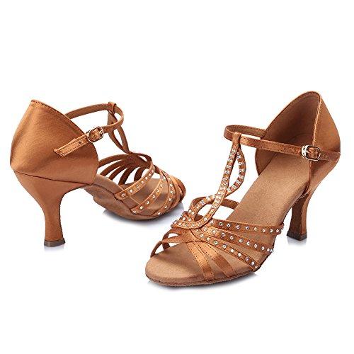 latinos danza de Zapatos de Zapatos de baile Diamante HIPPOSEUS salón satén mujeres con de de Modelo el imitación baile Marrón la de Zapatos ESAF419 q8zztwxTa