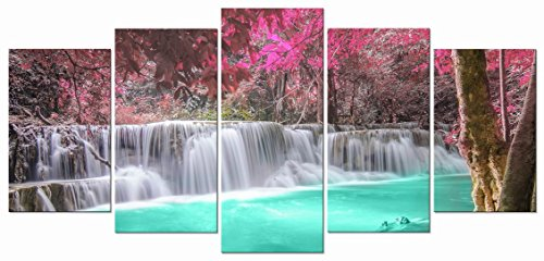 Wieco Art Waterfall 5 Piece Giclee Canvas Prints Wall Art Purple Forest Trees Pictures Paintings for Living Room Bedroom Home Decorations Modern Stretched and Framed Decorative Landscape Artwork ()