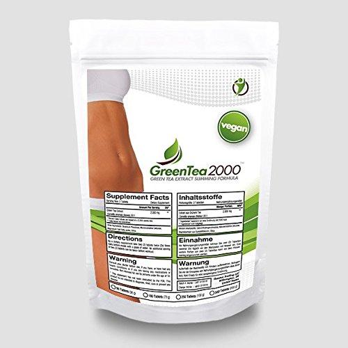 Green Tea 2000 (500 Tabletten - 2000mg / Portion) Vegan ,Hochdosierter Grüner Tee Extrakt - Fatburner, Diät, Antioxidantien, Wohlbefinden, Keine Kapseln - Preishammer