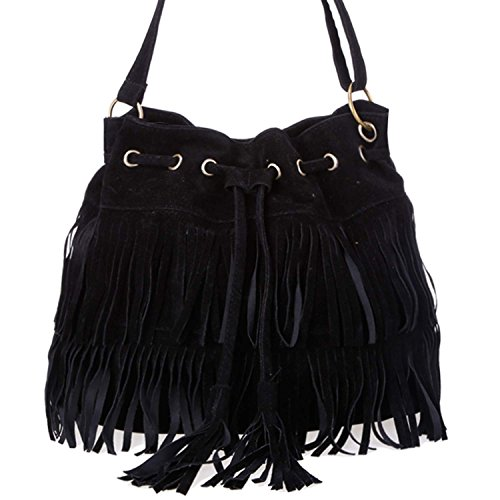 Brown Suede Fringe Crossbody Bag - 9