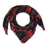 URIBAKE ❤ Women's Winter Scarf Soft Warm Vintage Lattice Fringe Square Long Wrap Shawl Scarves Stole Cape (Red)