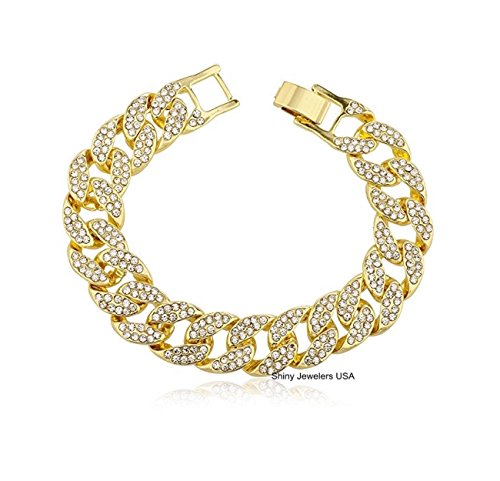 Mens Iced Out Hip Hop Gold tone CZ Miami Cuban Link Chain 8
