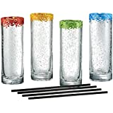 Artland Mingle Cooler Glasses with Reusable Straws, Clear