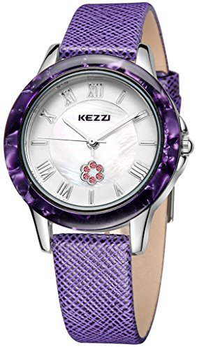 Kezzi Women's Watches K1177 Fashion Luxury Quartz Analog Crystal Pearl Purple Leather Watch