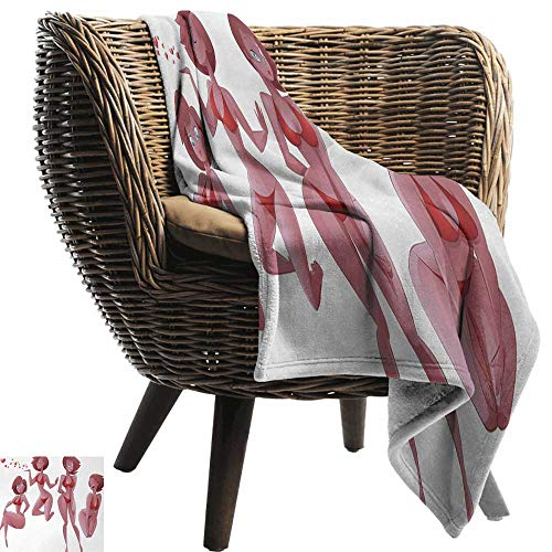 AndyTours Picnic Blanket,Modern,Sexy Woman in Swimwear Girl with Love Valentines Heart Female Body Bikini,Light Pink Ruby Red,Colorful | Home, Couch, Outdoor, Travel Use 35