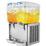 Happybuy 2 Tanks Juice Dispenser 4.75 Gallon/ Tank Cold Beverage Dispenser Plastic/Stainless Steel Finish Beverage Dispenser Commercial Use (9.5 Gallon)