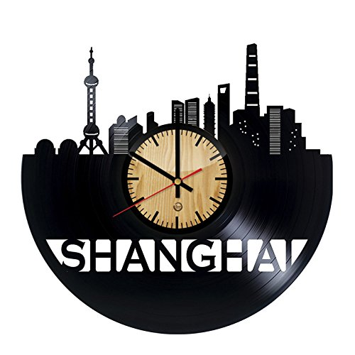 Welcome Dzen Store Shanghai Record Wall Clock - Get Unique of Living Room Wall Decor - Gift Ideas for Girls and Boys – Chinese City Unique Art Design ()