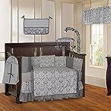 BabyFad Damask Grey 10 Piece Baby Crib Bedding Set