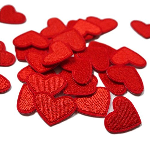 Yalulu 20PCs Mini Heart Embroidered Repair Patches Iron On Sew-on Cloth Paste DIY Applique Craft Kids Clothing Hat Bag Decor (Red)