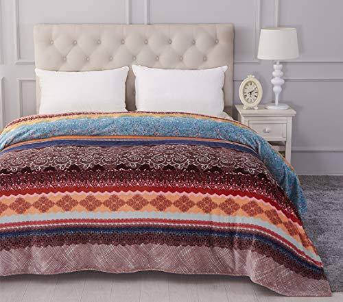 Jml Luxury Flannel Fleece Blanket - Printed Warm Fuzzy Ultra Plush Lightweight Couch Bed Blanket All Season Full Size (Printed Fleece Blanket)
