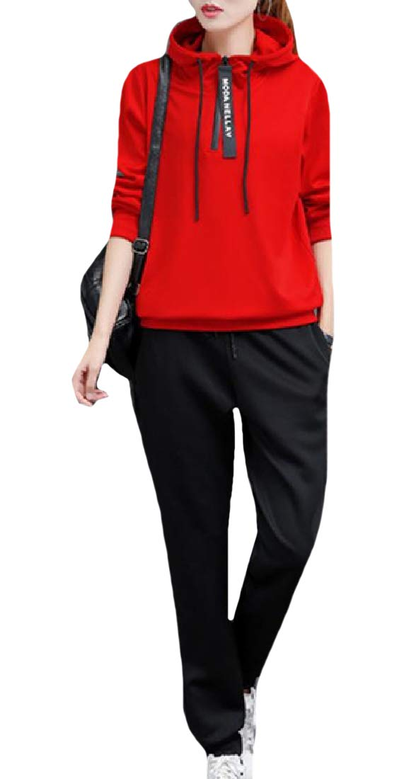 Winme Women's Relaxed-Fit Tracksuit Top Sport Baggy Pants Outfit