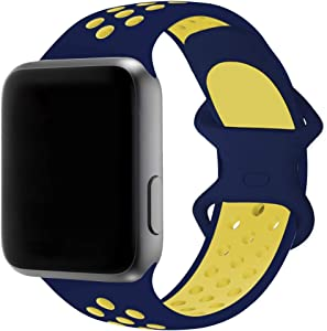 SMEECO Band Compatible for Apple Watch Series 6 SE 5 4 3 2 1 42mm 44mm Colorful Sports Soft Silicone Breathable Wristband Strap for iWatch Men and Women (Dark Blue/Yellow, Large)