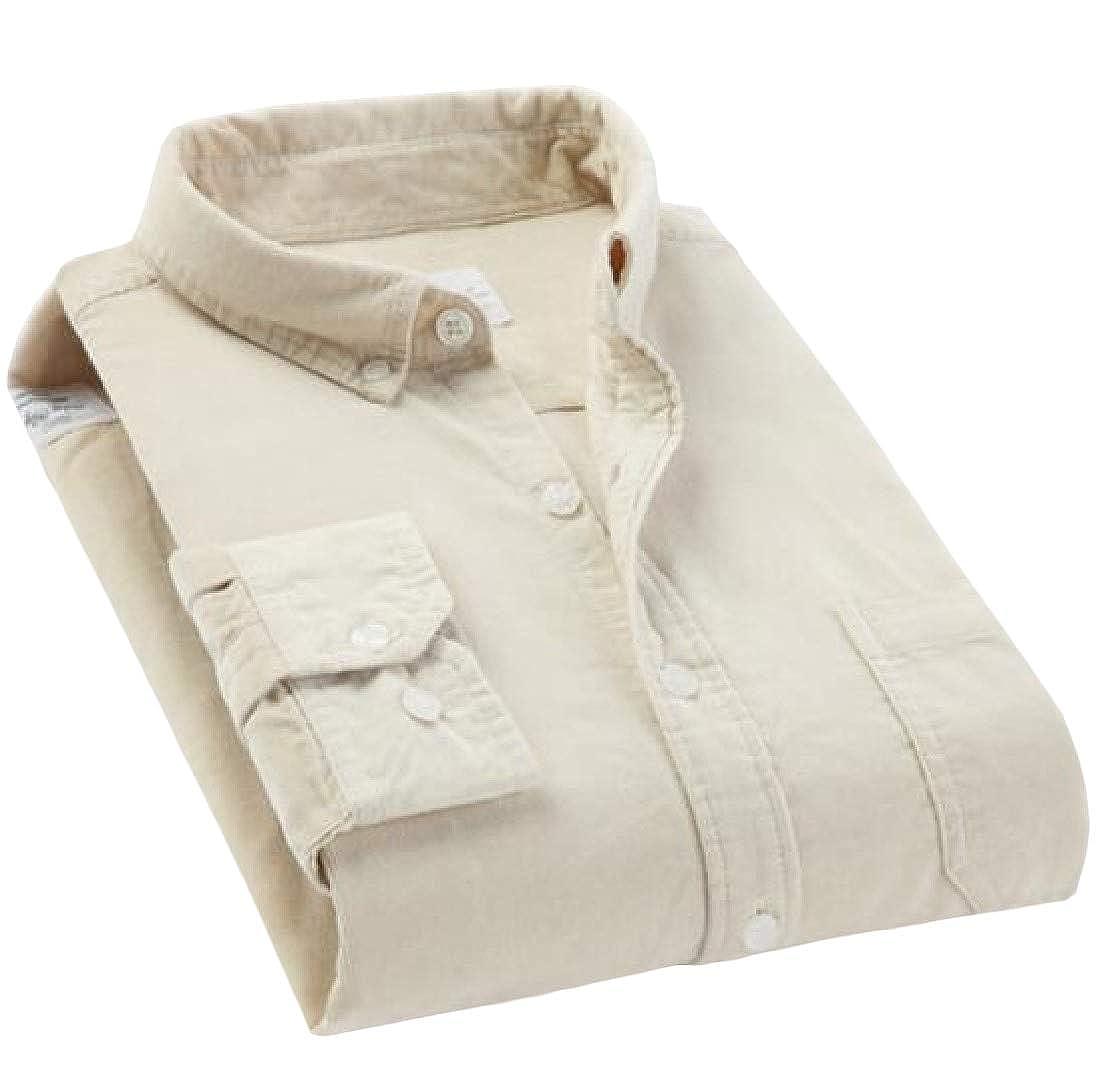 Hajotrawa Men Casual Slim Long Sleeve Button-Down Corduroy Pure Color Shirts