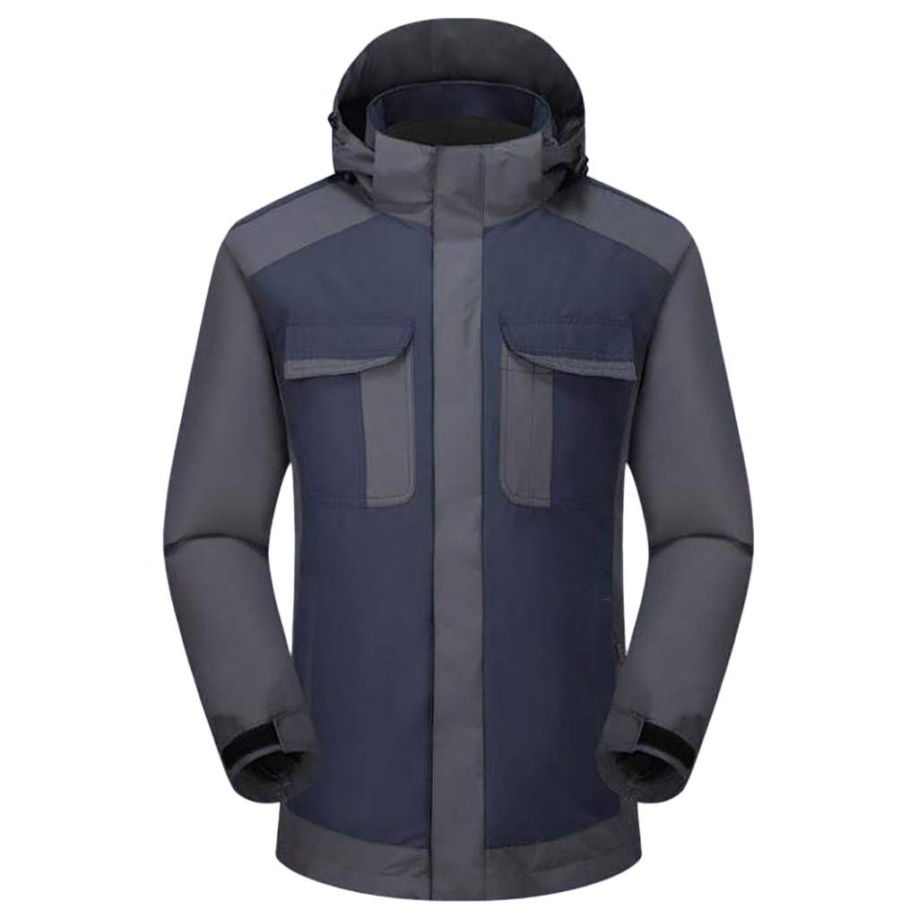 Botrong Men Winter Hooded Softshell Windproof Waterproof Soft Coat Shell Jacket (Navy,M) by Botrong