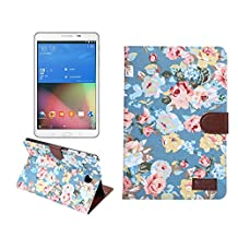 Samsung Galaxy Tab A 8.0 Case, NOKEA [Ultra Slim] [Dual Layer] [Anti-Scratches] Lightweight Premium PU Leather & Flower-Cloth Wallet Case Cover for Samsung Galaxy Tab A 8.0 Inch SM-T350 (Blue Floral)