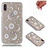 iPhone X Case (5.8-inch), iPhoneX Cover [Clear Transparent], MerKuyom Flexible Gel Crystal Rubber Soft TPU Cover Skin Case W/ Stylus For Apple iPhone X (2017) (White Sun Moon Stars)