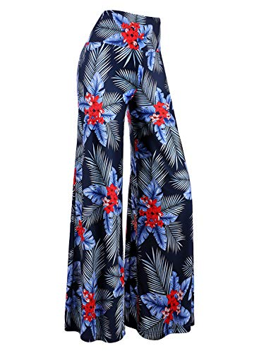 70 And 80 Clothes (Arolina Women's Stretchy Wide Leg Palazzo Lounge Pants (Small, Floral)