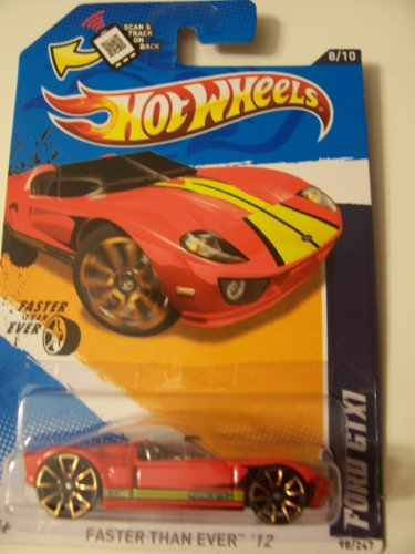 Hot Wheels 2012 8/10 Faster than Ever '12 98/247 Ford GTX1 Red with Yellow Stripe on Scan & Track Card