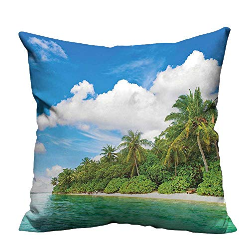YouXianHome Pillow Case Cushion Cover Surreal View in Tropical Island and Sky Lands Printing Dyeing (Double-Sided Printing) 21.5x21.5 ()