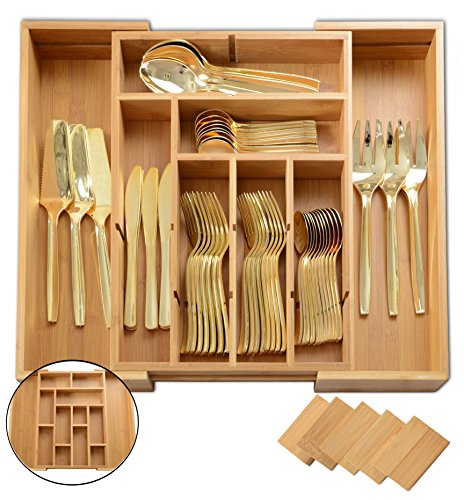 ADORN Expandable Bamboo 6 - 13 Compartment cutlery, Flatware, Utensils & Utility-Drawer Organizer | Extra Dividers up to 13 Compartments | ( Added height 2.5