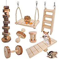 JanYoo Rabbit Toys Guinea Pig Chinchilla Bunny Hamster Chew Toys Gerbils Rat Exercise Molar Wooden Roller Swing Seesaw Ladder (Pack of 7)
