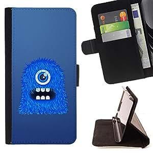 BullDog Case - FOR/Sony Xperia M2 / - / Blue One Eye Monster /- Monedero de cuero de la PU Llevar cubierta de la caja con el ID Credit Card Slots Flip funda de cuer
