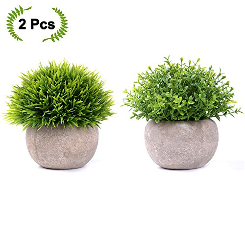 Artiflr Small Artificial Potted Plants - 2 Pack Mini Fake Green Plants with Gray Pots for Home Decor by Artiflr